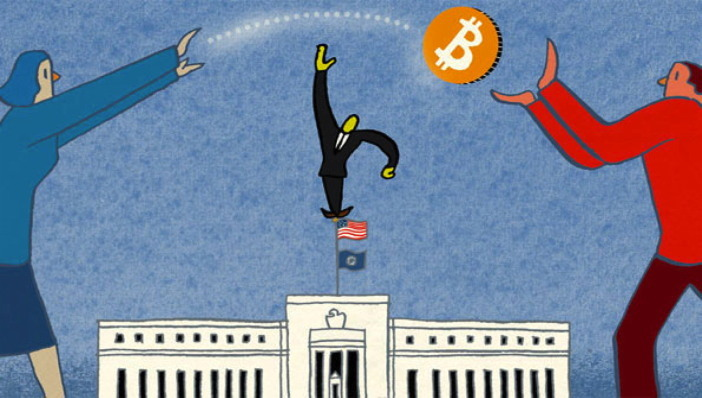 Editorial cartoon Bitcoin